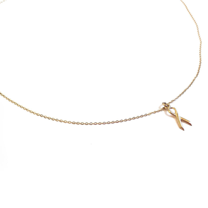 Awareness Ribbon Gold Necklace