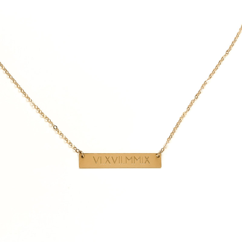 14k Gold Remission Date Double-Sided Bar Necklace