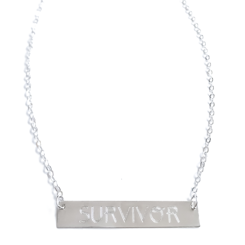 "Sterling Silver ""SURVIVOR"" Bar Necklace"