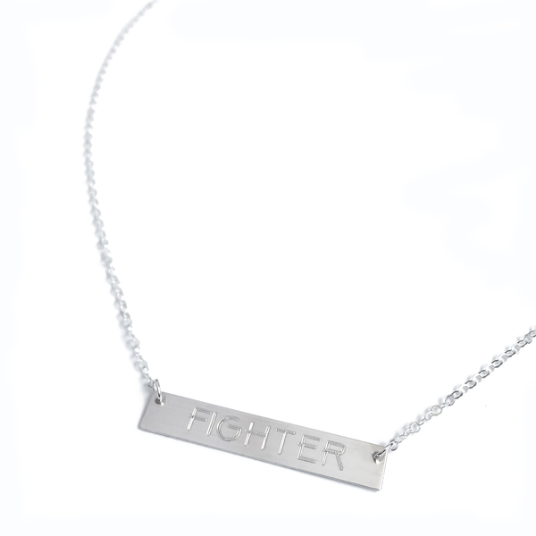 "Sterling Silver ""FIGHTER"" Bar Necklace"