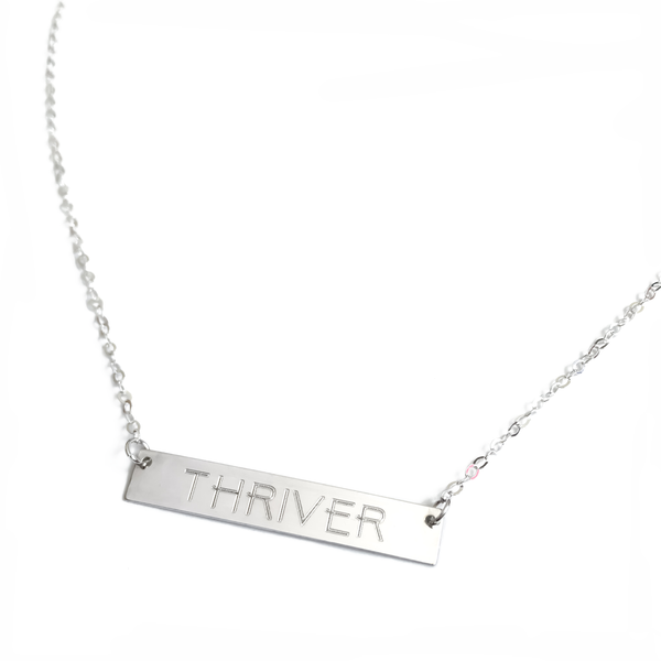 "Sterling Silver ""THRIVER"" Bar Necklace"