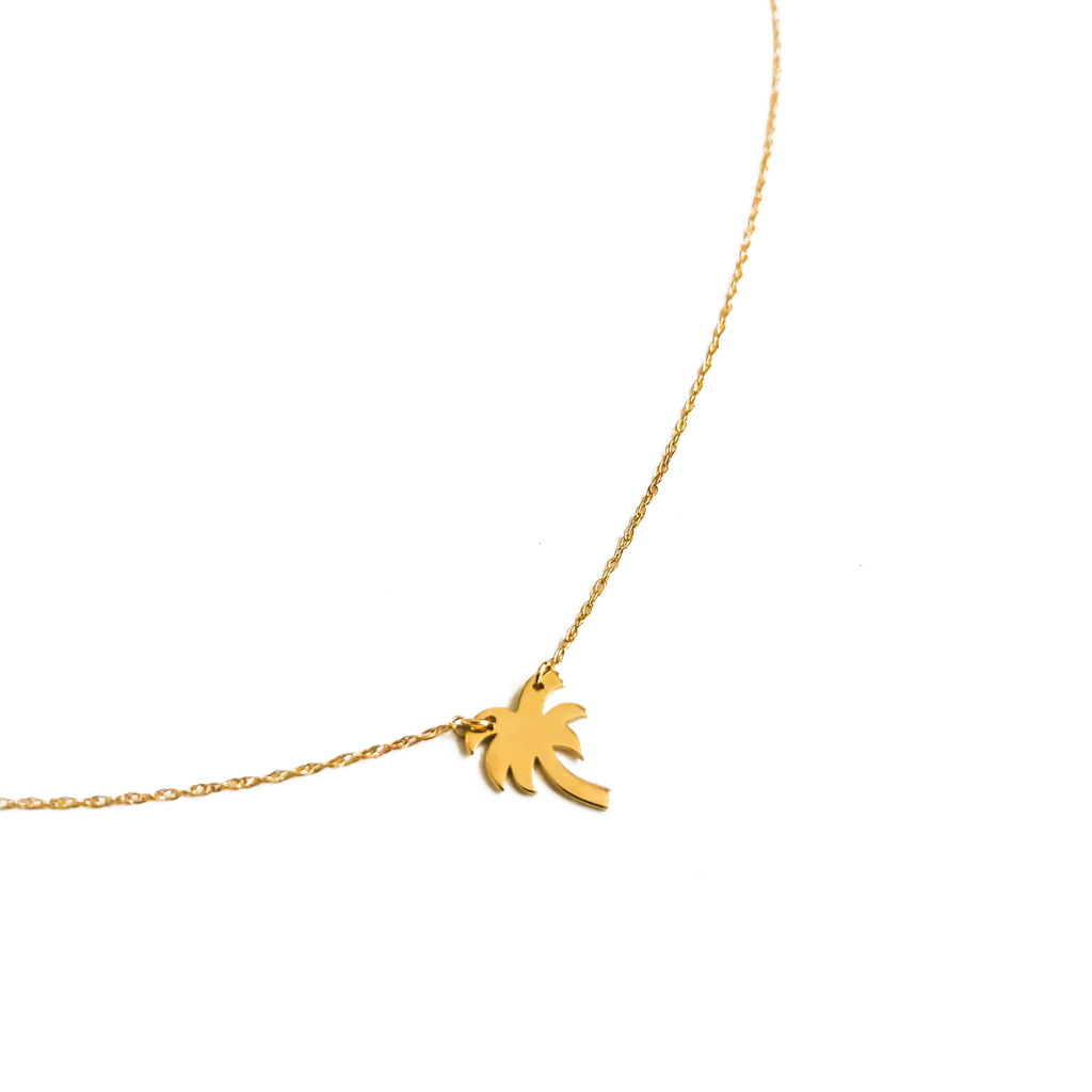 14K Solid Gold Palm Tree Pendant Necklace | THRIVE GANG X CHARLIE AND MARCELLE COLLAB