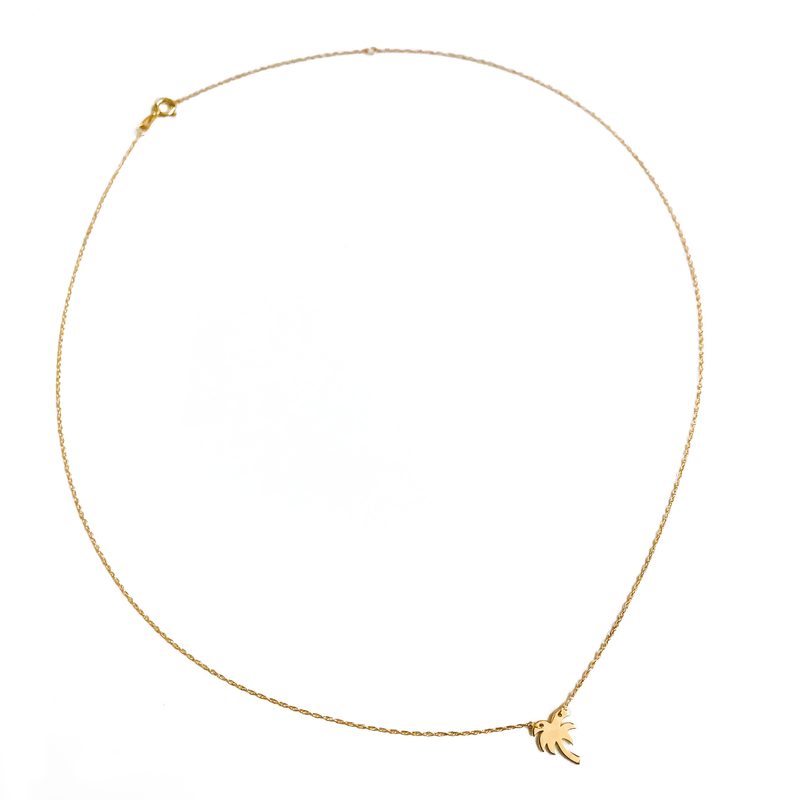 14K Solid Gold Resilient Palm Tree Pendant Necklace | THRIVE GANG X CHARLIE AND MARCELLE COLLAB