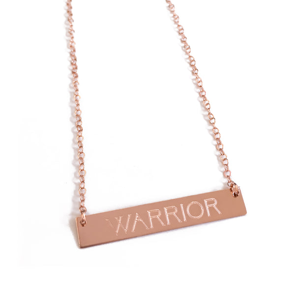 "14k Rose Gold ""WARRIOR"" Bar Necklace"