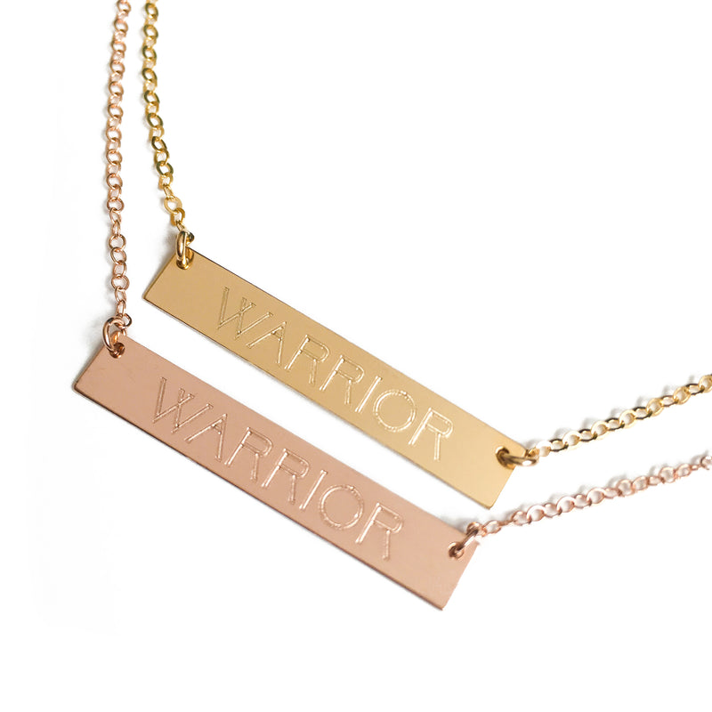 "14k Gold ""WARRIOR"" Bar Necklace"