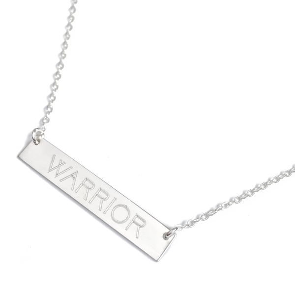 "Sterling Silver ""WARRIOR"" Bar Necklace"