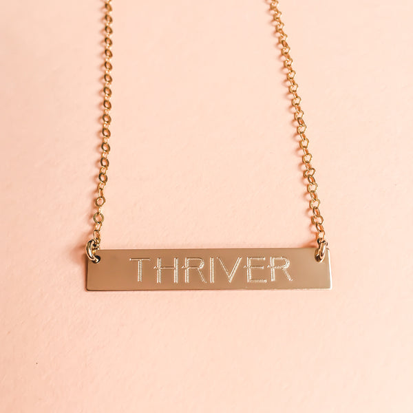 "14K Gold ""THRIVER"" Bar Necklace"