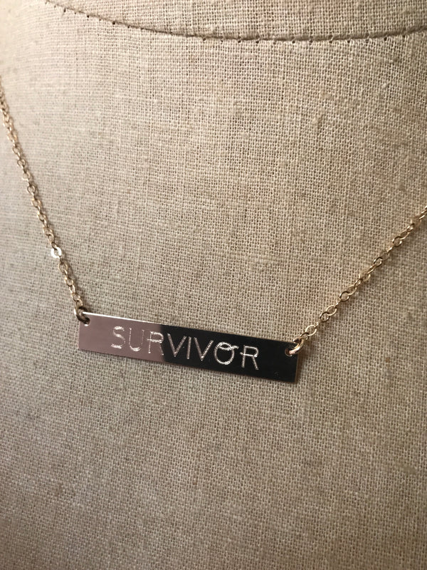 "14k Gold ""SURVIVOR"" Bar Necklace"