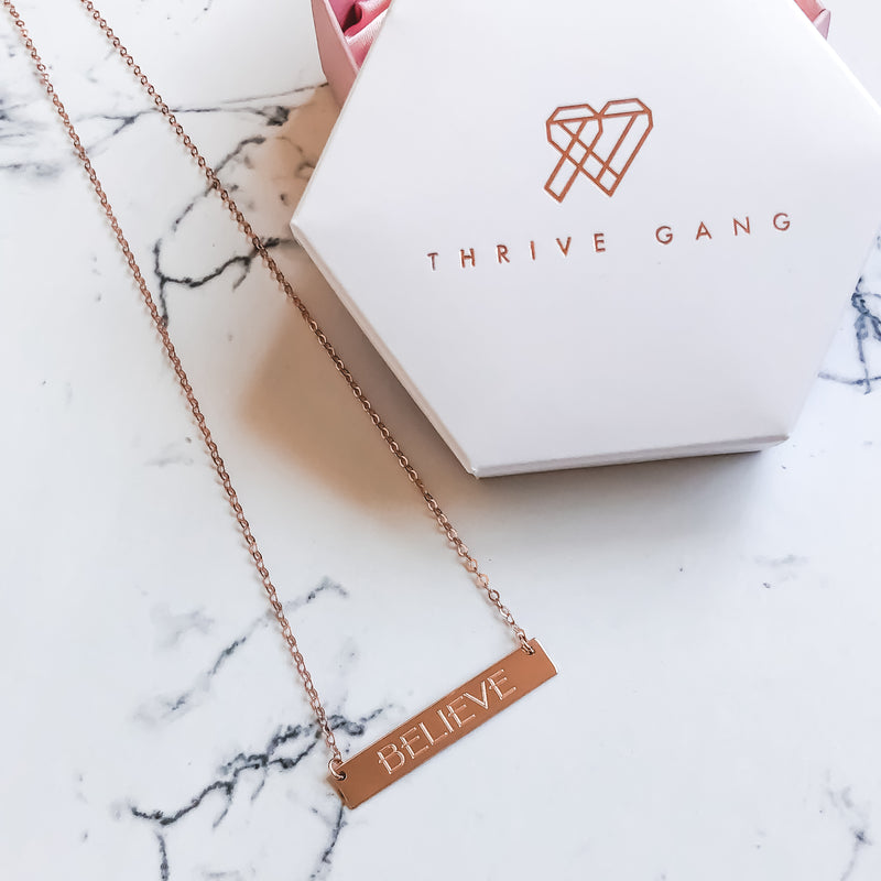 "14k Rose Gold ""BELIEVE"" Bar Necklace"