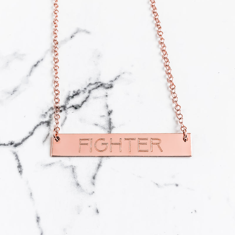 "14k Rose Gold ""FIGHTER"" Bar Necklace"
