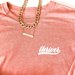 Team Thriver Relaxed Shirt -  Coral/White