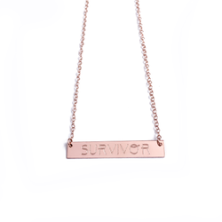 "14k Rose Gold ""SURVIVOR"" Bar Necklace"