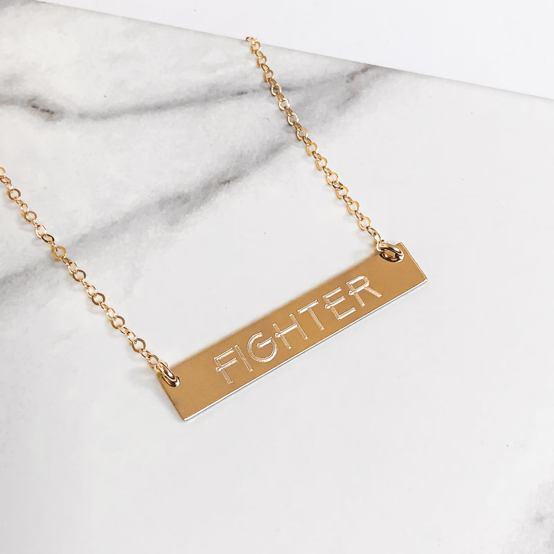 "14k Gold ""FIGHTER"" Bar Necklace"