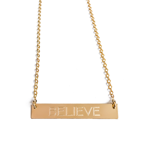"14k Gold ""BELIEVE"" Bar Necklace"