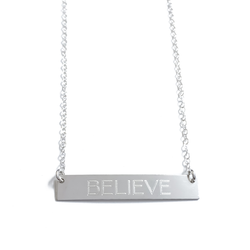 "Sterling Silver ""BELIEVE"" Bar Necklace"
