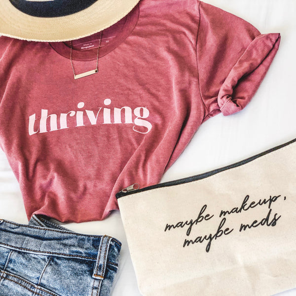 """THRIVING"" Mauve Tri-Blend T-Shirt"