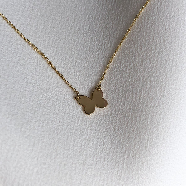 14k Solid Gold Butterfly Pendant Necklace