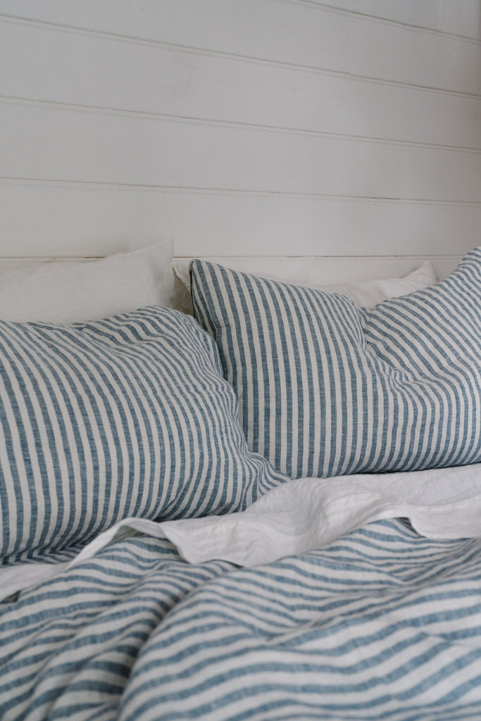 100% Linen Flat Sheet in French Navy Stripe