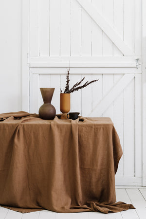 Linen Table Cloth in Clay