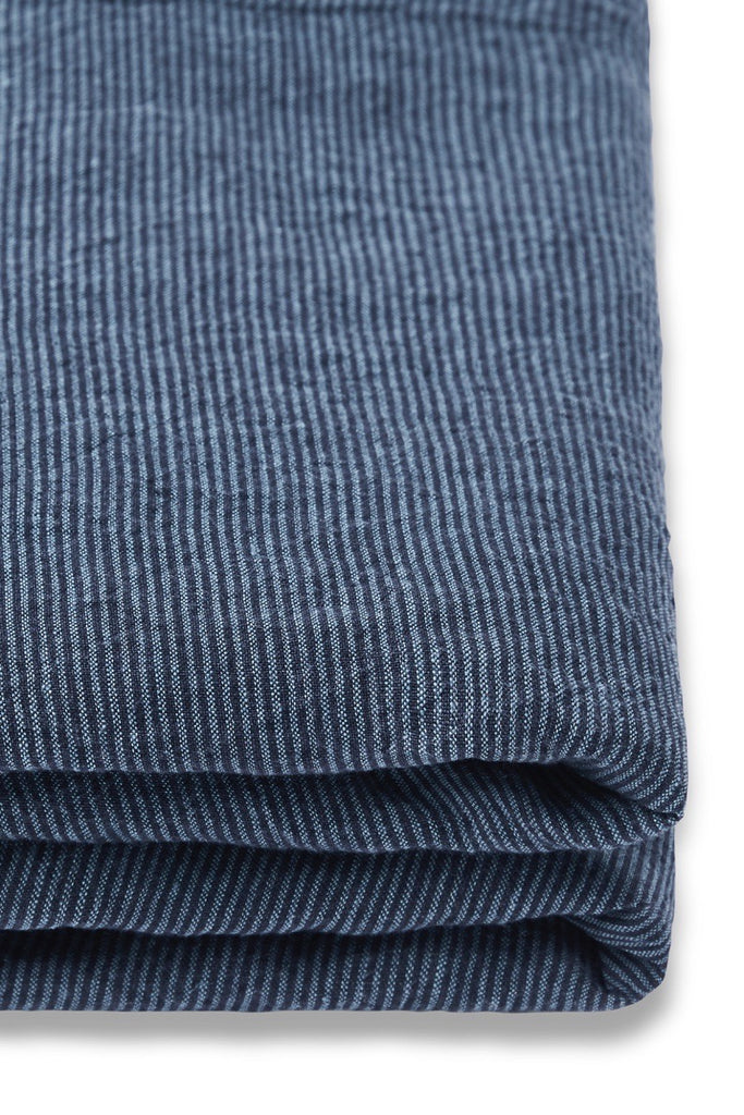 Linen Fitted Sheet in Inkstripe