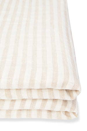 100% Linen Flat Sheet in Ivory Stripe