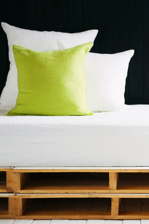 Linen Cushion Cover in Lime