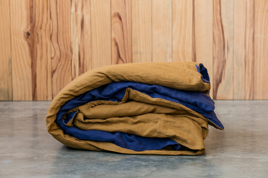 Sale Quilt Covers - Navy + Khaki Reversible