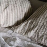 Linen Quilt Cover in Ivory Stripe, Flax Linen