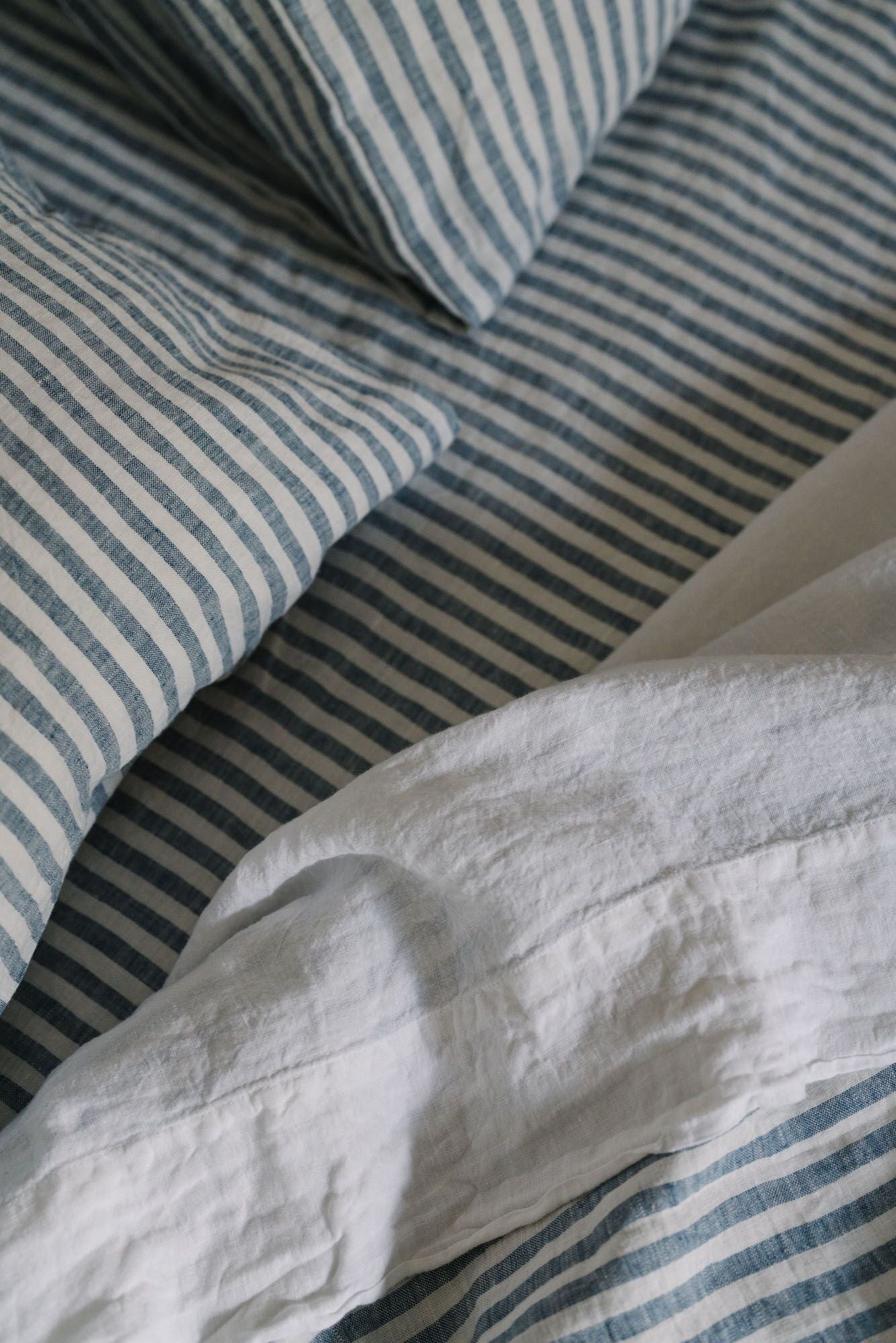 100% Linen Fitted Sheet in French Blue Stripe