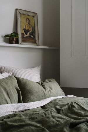 Linen Fitted Sheet in Olive