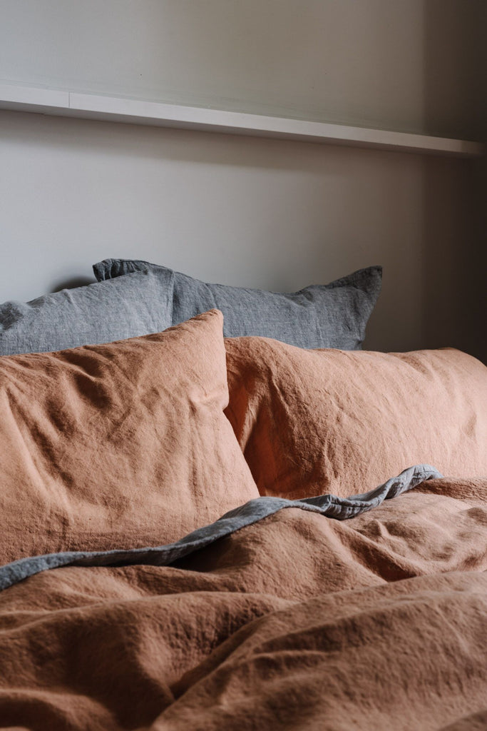 Linen Quilt Cover in Terracotta