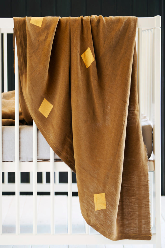 Khaki Linen Throw - Squares