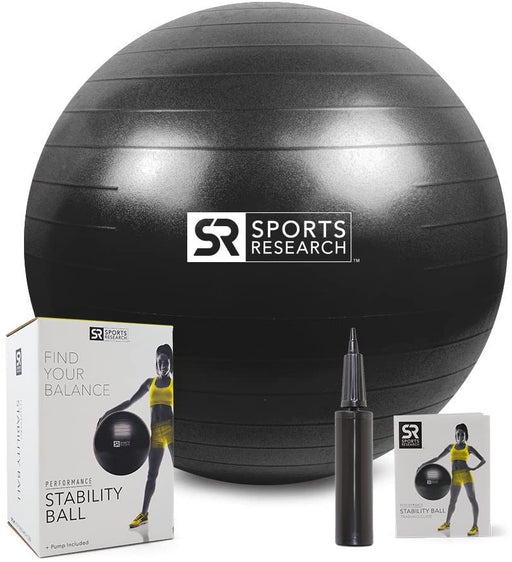 Sports Research Performance Medicine & Stability Ball | Helps Develop core Strength & Balance for Home Gym Workouts (Matte Black - 75cm)