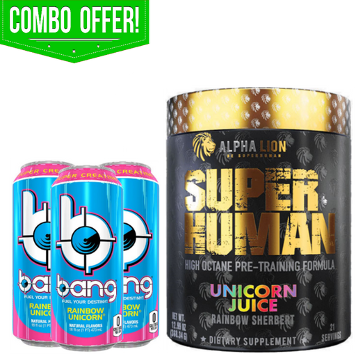 Combo Offer! Unicorn Special - Alpha Lion Unicorn Juice Pre Workout + 3x Bang Rainbow Unicorn RTD