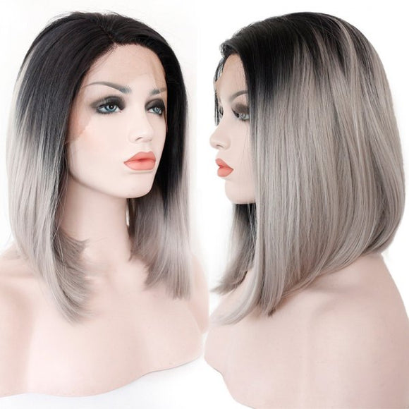 Straight Bob Colormix Lace Front Synthetic Wig - Black And Grey
