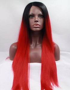Long Middle Part Ombre Straight Lace Front Synthetic Wig 26""