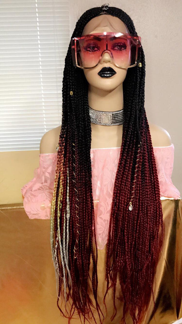 Fulani Ombre braids Lace front wig W/Baby hair