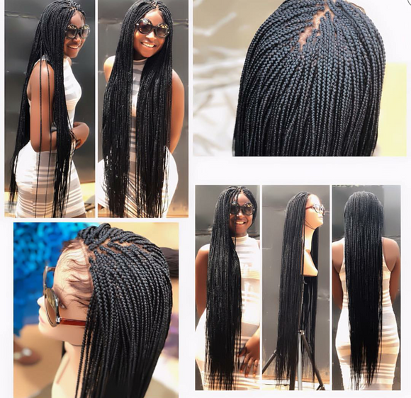Custom Made Box Braids – Made on Lace Frontal Human Hair – Braided Wigs – Box Braids – Tightly and Neatly Done – Handmade