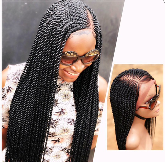 Braided wig lace front handmade cornrow/twist 22