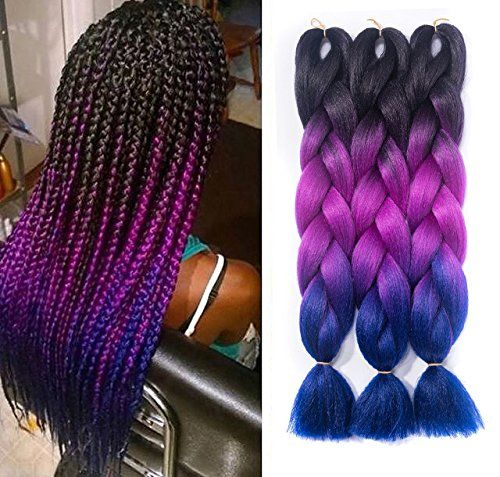 Ombre Braiding Braiding Hair Black-Purple-Blue Jumbo Braids