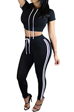 Women Casual Sport Bodycon Crop Top Long Skinny Pant Set Tracksuit