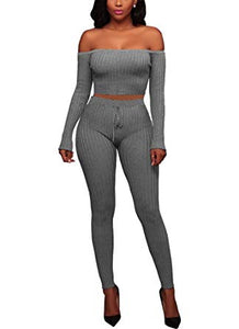 Knitted Off Shoulder Crop Top Long Pants Set 2 Pieces Jumpsuits