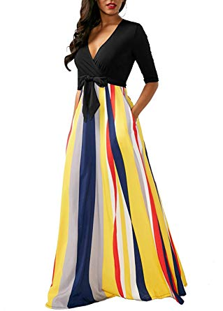 Sexy V Neck Half Sleeve Striped Patchwork Casual Maxi Dress with Side Pockets