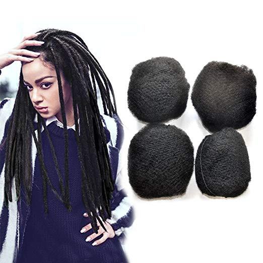 4pcs/lot tight Afro Kinky Bulk Hair 100% Human Hair For DreadLocks,Twist Braids Natural Color Hair,10