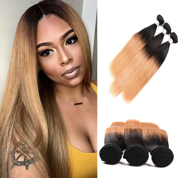 Ombre Color Raw Human Virgin Hair Two Tones tb/27 color Straight Hair 4 bundles (22.24.26.28)
