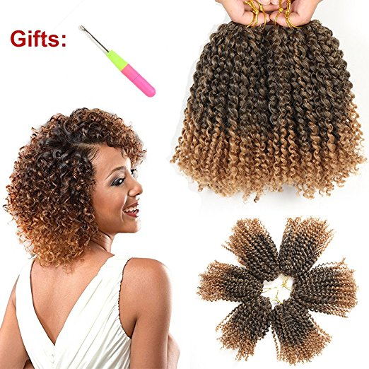 Crochet Hair 6 Packs/Lot Kinky Curly Crochet Braids Ombre Braiding Hair Synthetic Hair Extension (1B/27#)