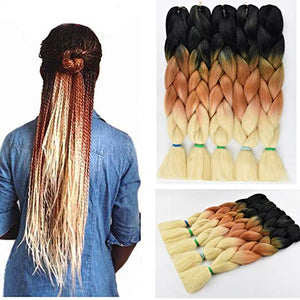 "Crochet Hair Ombre Braiding Hair Kanekalon Braiding Hair Synthetic Jumbo Braids Hair 3 Tone Twist Braiding hair Hair Extensions 5Pcs/Lot 100g/Pc 24"" (60CM) (Black-brown-off white)"
