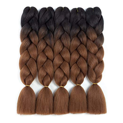 two toneBraiding Hair Synthetic Ombre Hair Kanekalon Braiding High Temperature Fiber Crochet Twist Braids Black to Brown Ombre (24