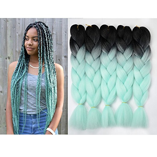 Ombre Jumbo Braiding Hair Black-Light green