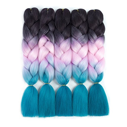 "Ombre Jumbo Hair 24""(Dark-Pink-Lake blue)"